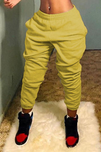 Yellow Casual Solid Split Joint Straight Straight Solid Color Bottoms