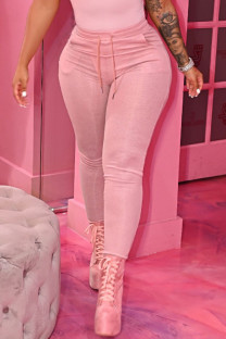 Pink Casual Solid Split Joint Skinny High Waist Pencil Solid Color Bottoms