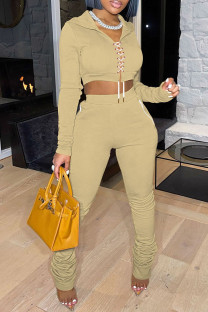 Khaki Fashion Casual Solid Bandage Fold Hooded Collar Long Sleeve Two Pieces