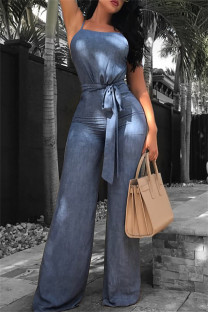 Blue Sexy Casual Solid Backless Spaghetti Strap Regular Jumpsuits