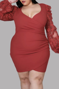 Red Fashion Sexy Patchwork See-through V Neck Long Sleeve Plus Size Dresses