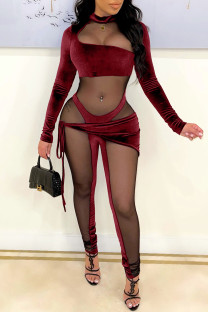 Burgundy Fashion Sexy Patchwork See-through Half A Turtleneck Skinny Jumpsuits