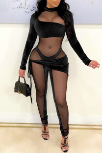 Black Fashion Sexy Patchwork See-through Half A Turtleneck Skinny Jumpsuits