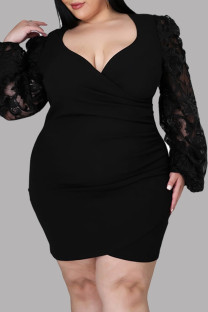 Black Fashion Sexy Patchwork See-through V Neck Long Sleeve Plus Size Dresses