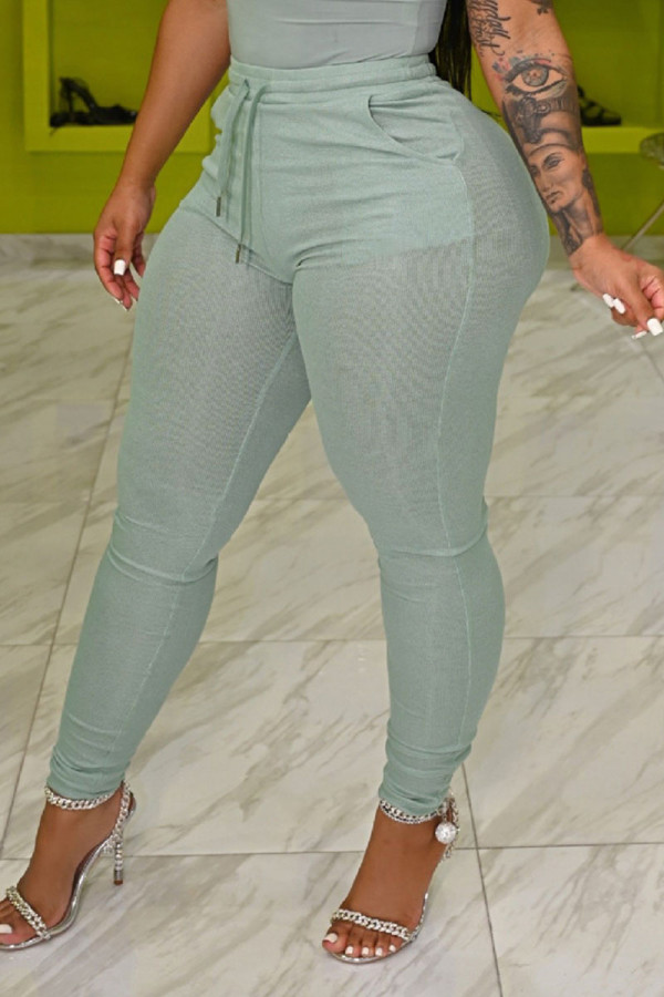 Gray Green Casual Solid Split Joint Skinny High Waist Pencil Solid Color Bottoms