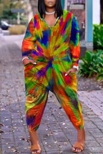 Rainbow Color Casual Print Split Joint V Neck Plus Size Jumpsuits