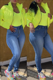 Fluorescent Green Fashion Casual Solid Cardigan Outerwear