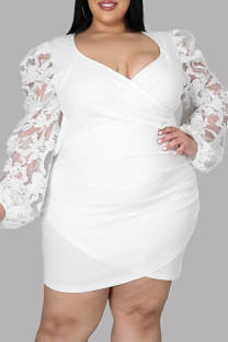 White Fashion Sexy Patchwork See-through V Neck Long Sleeve Plus Size Dresses