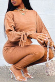 Brown Casual Solid Split Joint Frenulum O Neck Long Sleeve Two Pieces