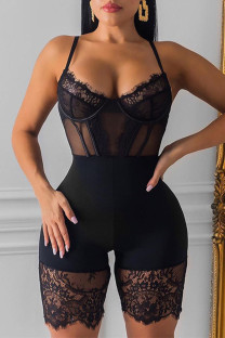 Black Fashion Sexy Patchwork See-through Backless Bustiers
