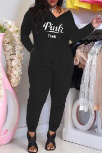 Black Fashion Casual Letter Print Basic V Neck Regular Jumpsuits