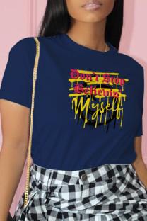 Navy Blue Casual Street Print Split Joint O Neck T-Shirts