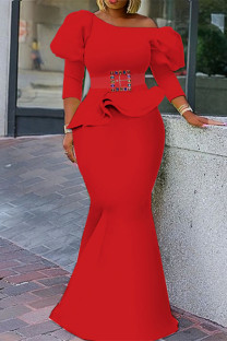 Red Fashion Solid With Belt Oblique Collar Three Quarter Two Pieces