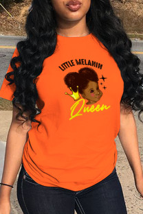 Orange Fashion Casual Print Split Joint O Neck T-Shirts