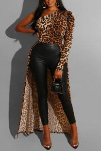 Leopard Print Sexy Print Leopard Split Joint Fold Asymmetrical Oblique Collar Dresses