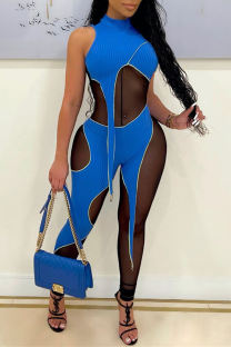 Blue Fashion Sexy Patchwork See-through Turtleneck Skinny Jumpsuits