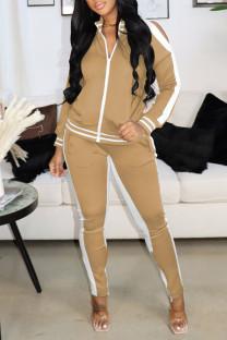 Khaki Casual Sportswear Solid Hollowed Out Split Joint Zipper Zipper Collar Long Sleeve Two Pieces