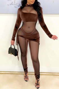Brown Fashion Sexy Patchwork See-through Half A Turtleneck Skinny Jumpsuits