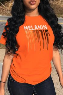 Orange Casual Sportswear Print Split Joint Letter O Neck T-Shirts