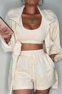 Cream White Fashion Casual Solid Cardigan Turndown Collar Long Sleeve Three-piece Set
