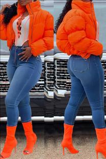 Orange Fashion Casual Solid Cardigan Outerwear