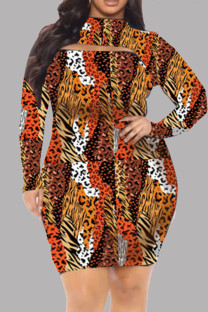 Orange Fashion Casual Print Hollowed Out Half A Turtleneck Long Sleeve Plus Size Dresses