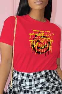 Red Casual Street Print Split Joint O Neck T-Shirts