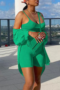 Green Casual Solid Split Joint Spaghetti Strap Long Sleeve Two Pieces