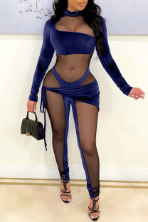 Blue Fashion Sexy Patchwork See-through Half A Turtleneck Skinny Jumpsuits