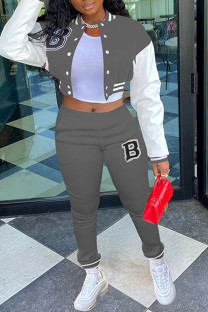 Grey Casual Sportswear Print Split Joint Buckle Mandarin Collar Long Sleeve Two Pieces
