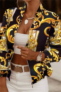 Black Yellow Fashion Casual Print Cardigan Zipper Collar Outerwear