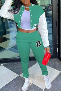 Mint green Casual Sportswear Print Split Joint Buckle Mandarin Collar Long Sleeve Two Pieces