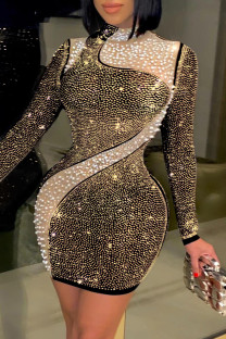 Gold Fashion Sexy Patchwork Hot Drilling Beading Half A Turtleneck Long Sleeve Dresses