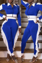 Blue Fashion Casual Patchwork Zipper Turndown Collar Long Sleeve Two Pieces