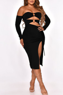 Black Sexy Solid Hollowed Out Split Joint Frenulum Metal Accessories Decoration Fold Strapless One Step Skirt Dresses