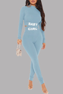 Baby Blue Casual Sportswear Letter Print Basic Half A Turtleneck Long Sleeve Two Pieces