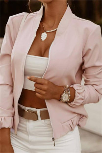 Pink Fashion Casual Print Cardigan Zipper Collar Outerwear