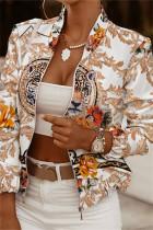 Apricot White Fashion Casual Print Cardigan Zipper Collar Outerwear