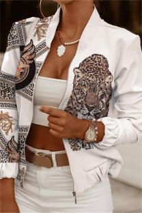 White Brown Fashion Casual Print Cardigan Zipper Collar Outerwear