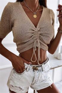 Khaki Fashion Casual Solid Draw String V Neck Tops