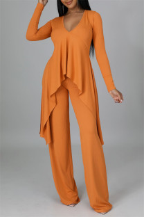 Orange Casual Solid Split Joint Asymmetrical V Neck Long Sleeve Two Pieces