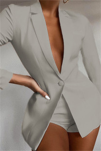 Grey Fashion Casual Solid Basic Turndown Collar Long Sleeve Two Pieces