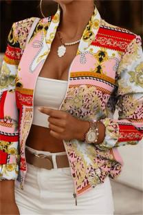 Red Bean Powder Fashion Casual Print Cardigan Zipper Collar Outerwear