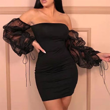 Black Sexy Solid Split Joint Fold Off the Shoulder One Step Skirt Dresses