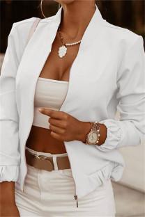 White Fashion Casual Print Cardigan Zipper Collar Outerwear