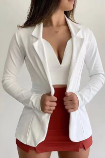 White Casual Solid Split Joint Turndown Collar Outerwear