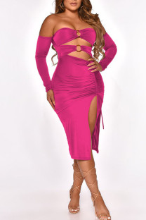 Rose Red Sexy Solid Hollowed Out Split Joint Frenulum Metal Accessories Decoration Fold Strapless One Step Skirt Dresses