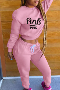 Pink Fashion Casual Letter Print Basic O Neck Long Sleeve Two Pieces