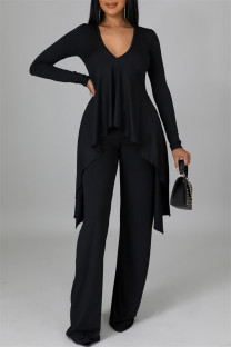 Black Casual Solid Split Joint Asymmetrical V Neck Long Sleeve Two Pieces