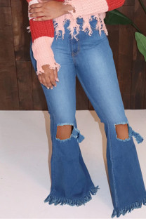 Medium Blue Fashion Casual Solid Ripped High Waist Regular Denim Jeans